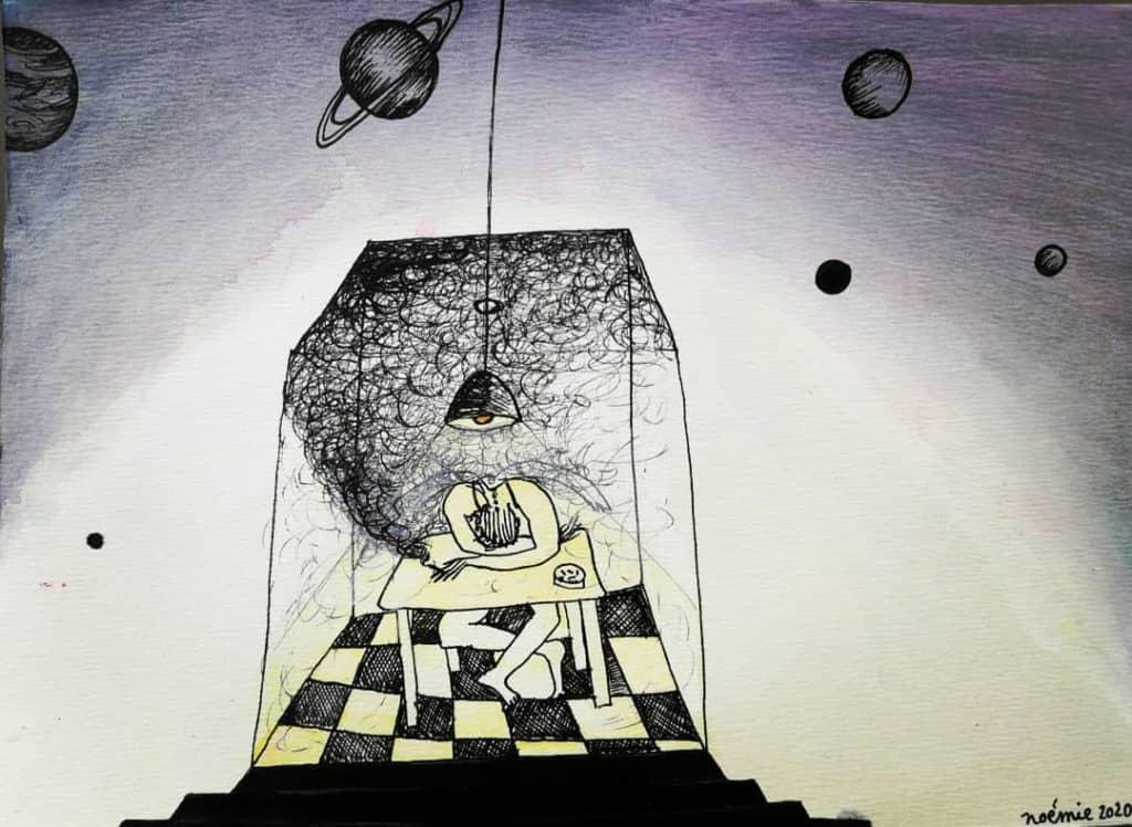 Des hommes en boîte 1, dessin de Noémie Boullier