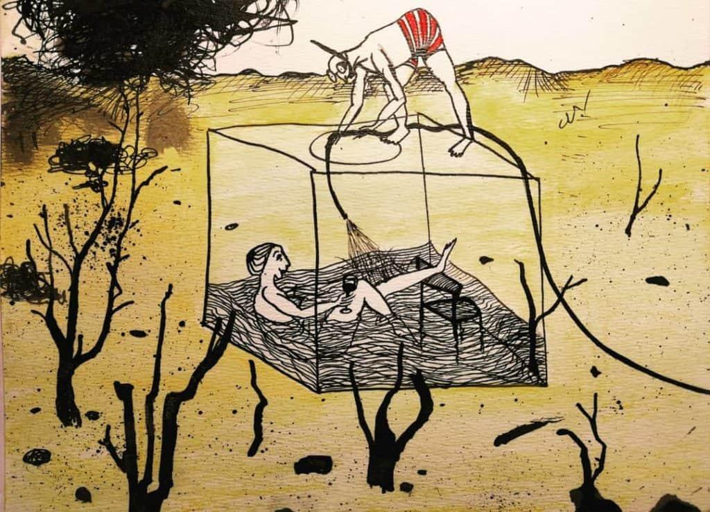 Des hommes en boîte 4, dessin de Noémie Boullier